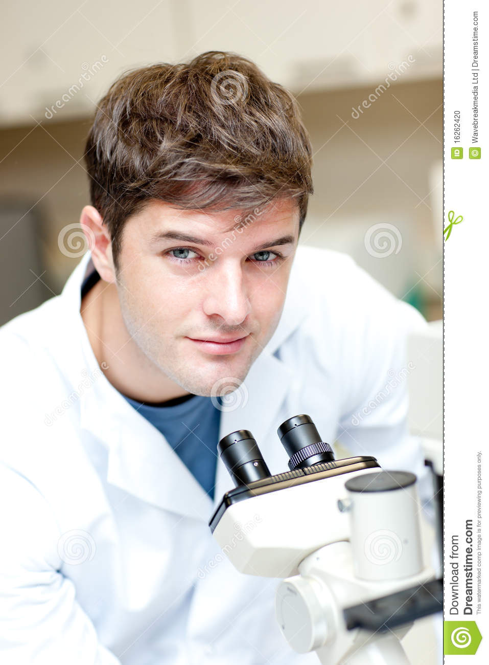 Handsome Male Scientist Using A Microscope Stock Photo - Image ...