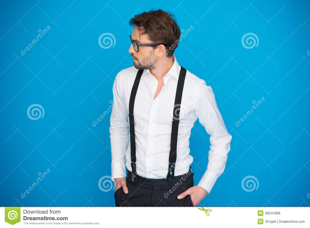 to buy new style & luxury best place Handsome Man On Blue Wearing White Shirt And Braces Stock ...