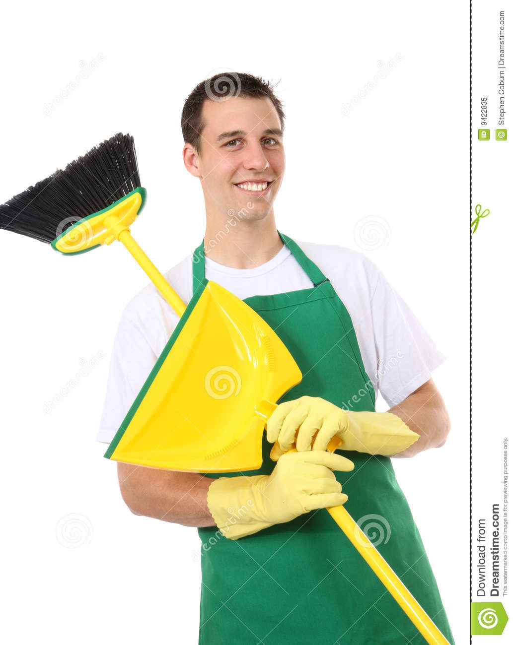 handsome man cleaner stock image  image of chores