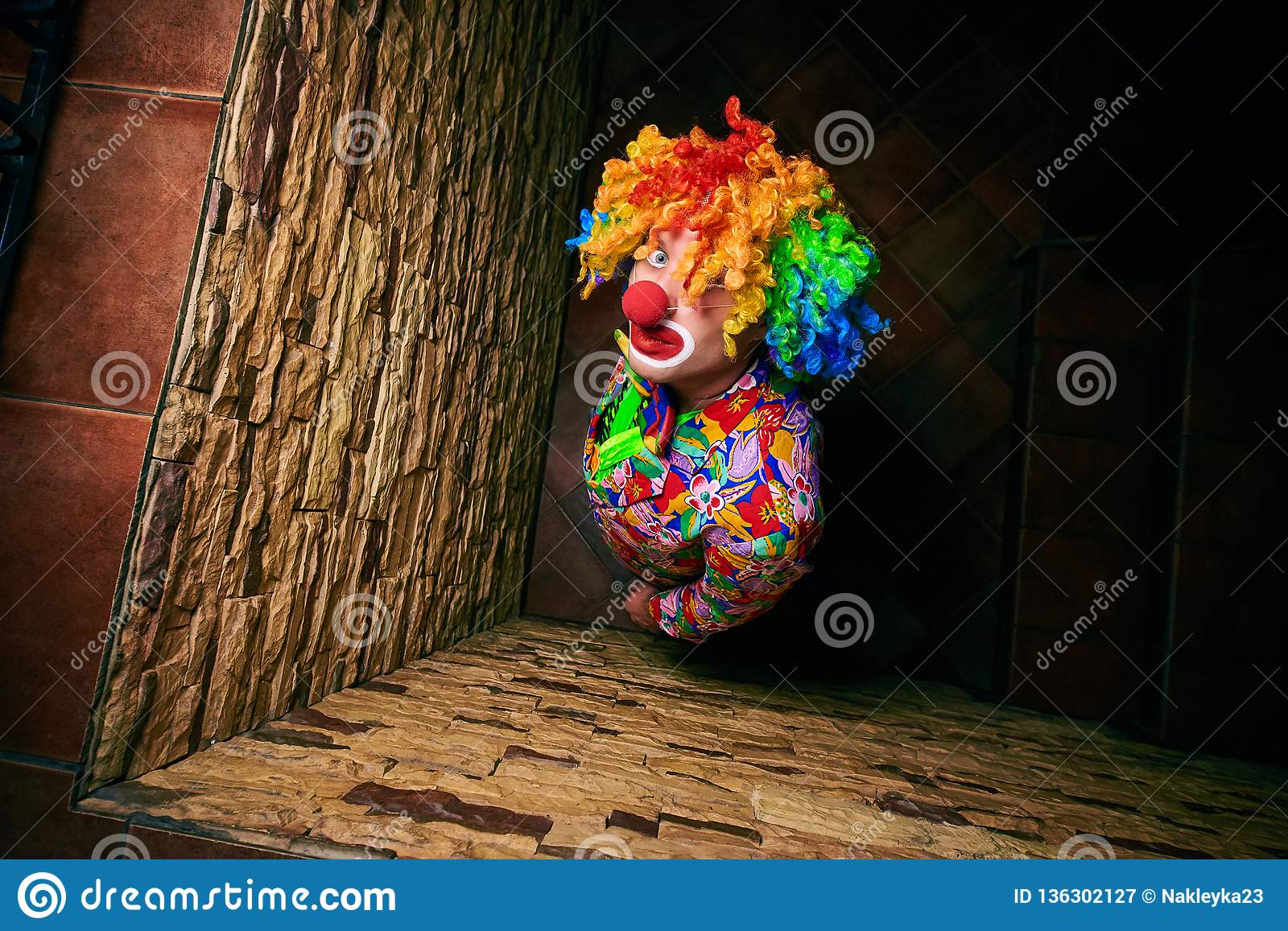 Handsome man in a clown costume looks up