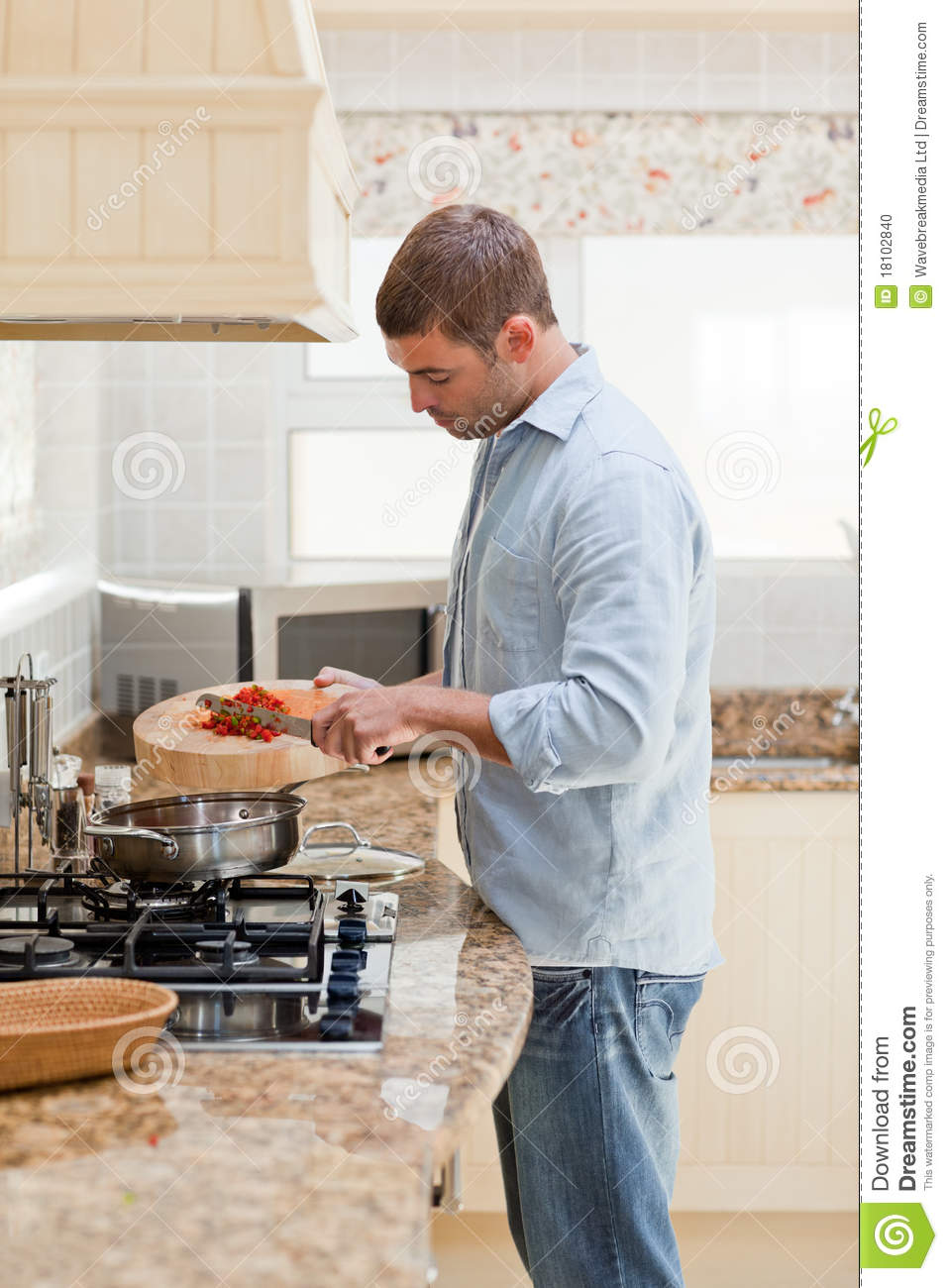 Handsome Man Cooking In The Kitchen Stock Photo - Image ...
