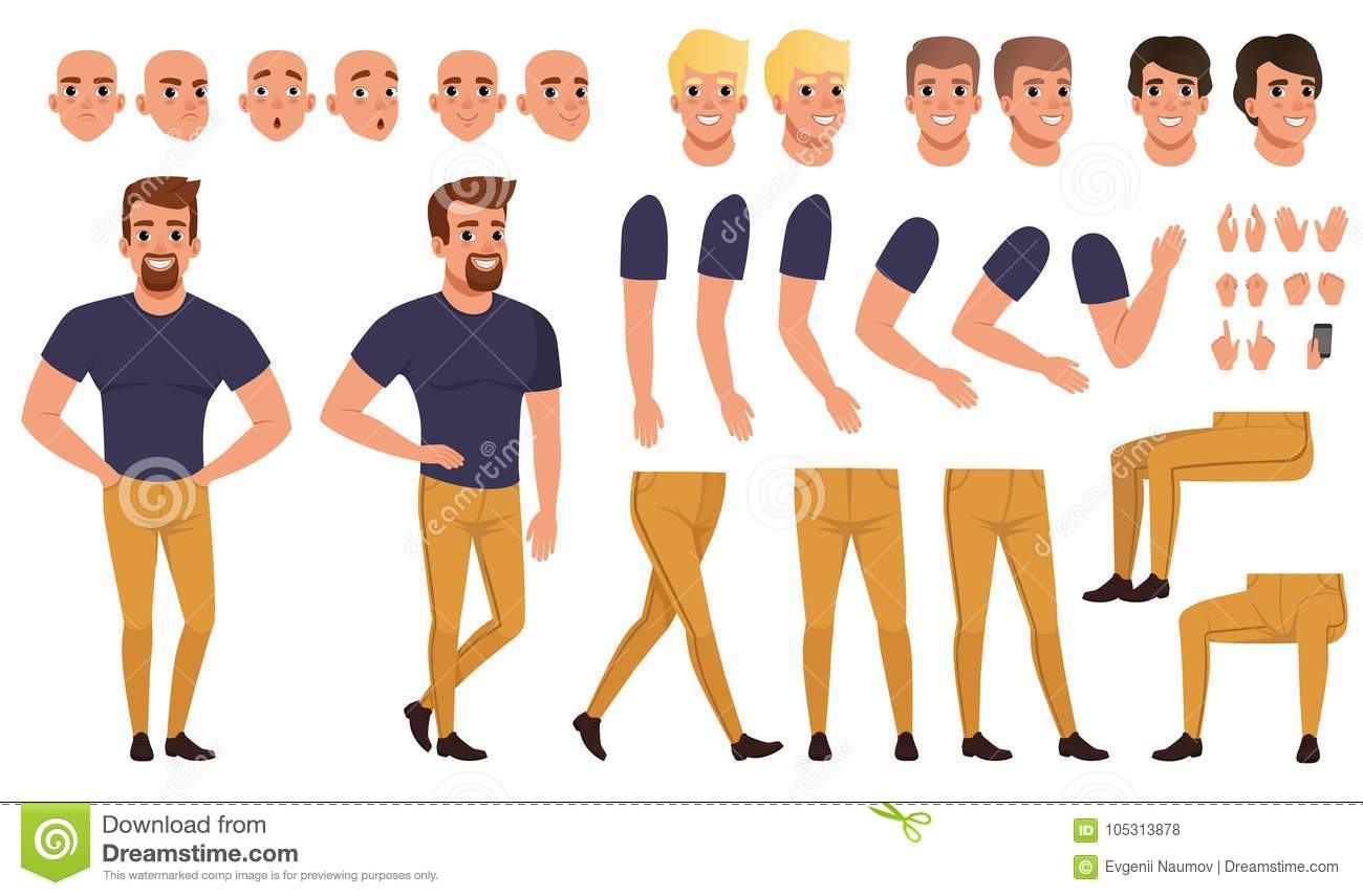 Handsome man creation set with various views, poses, face emotions, haircuts and hands gestures. Cartoon male character