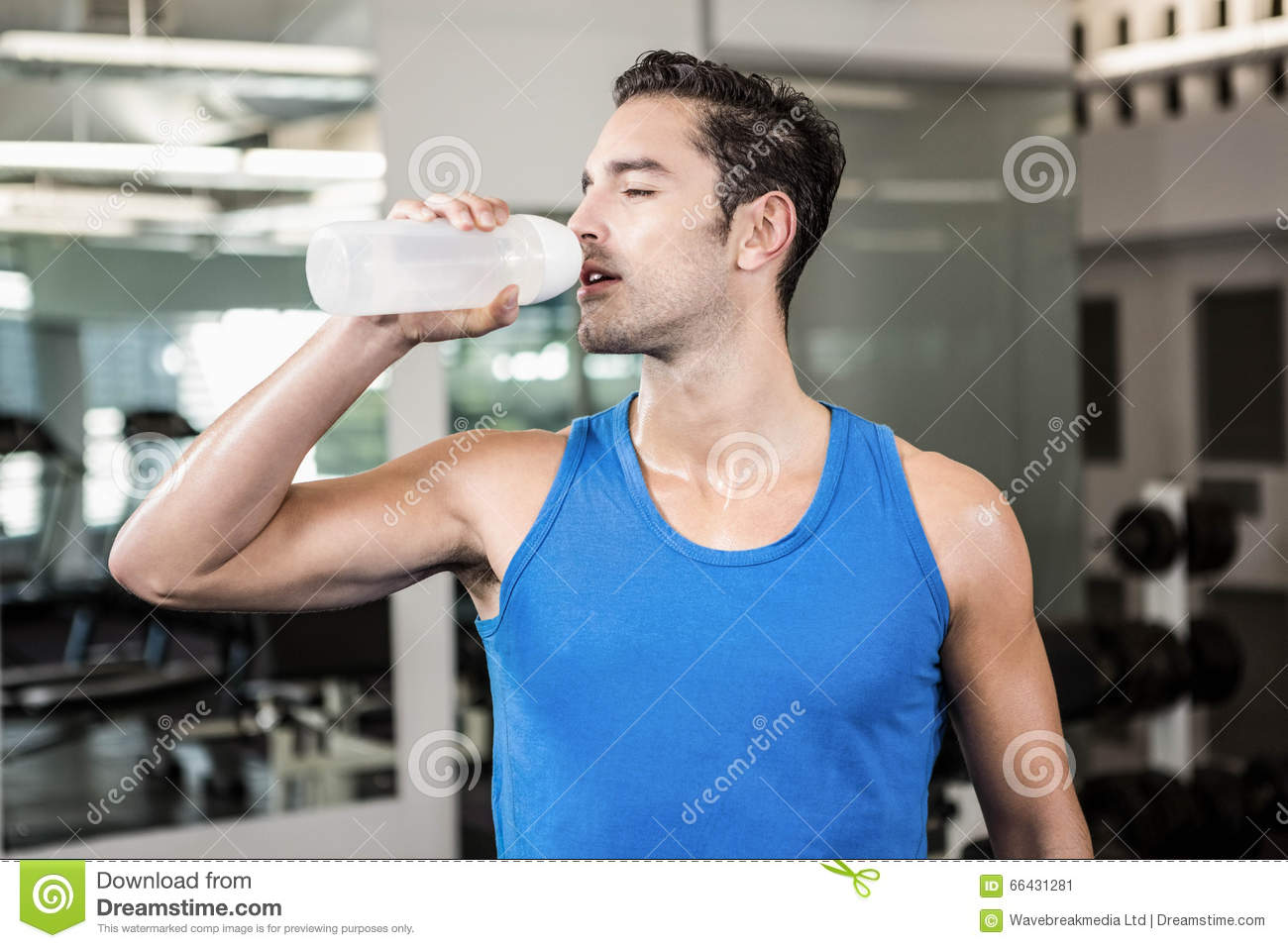Handsome Man Drinking Water Stock Image Image Of Physical Slender