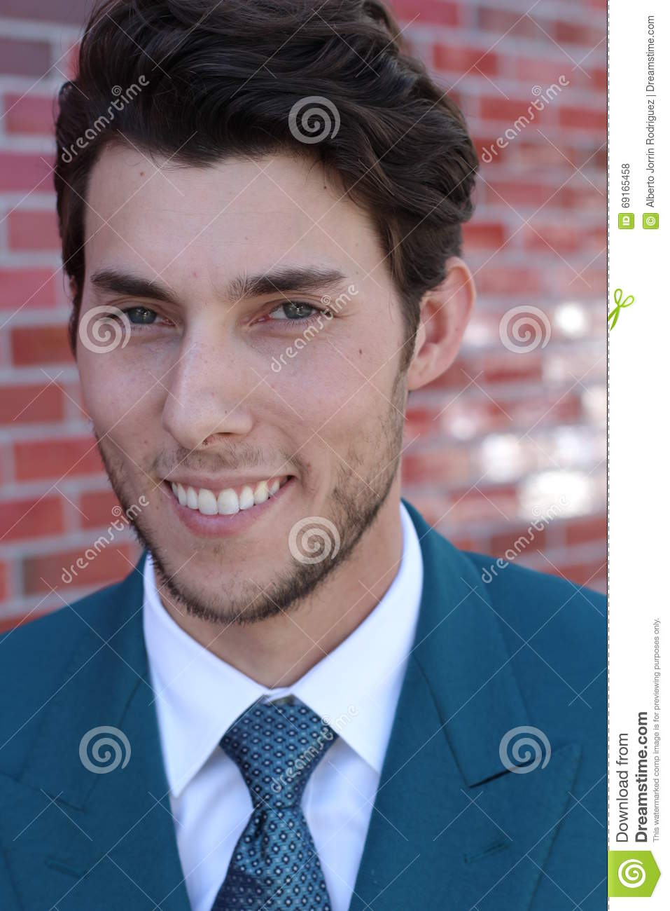 Handsome Man Face With A White Perfect Smile With A Red Background