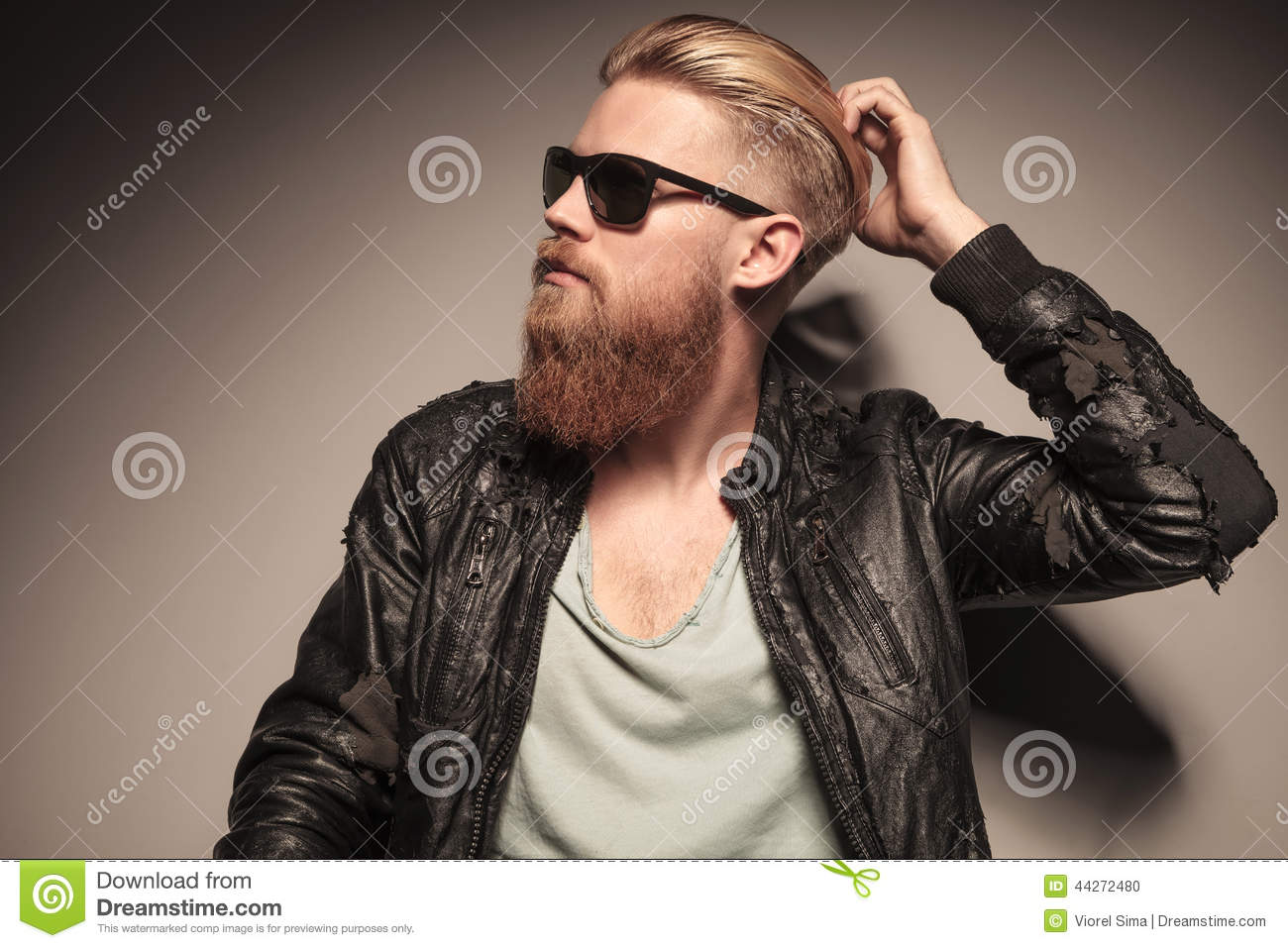 Handsome Man Fixing His Hair Stock Photo - Image: 44272480