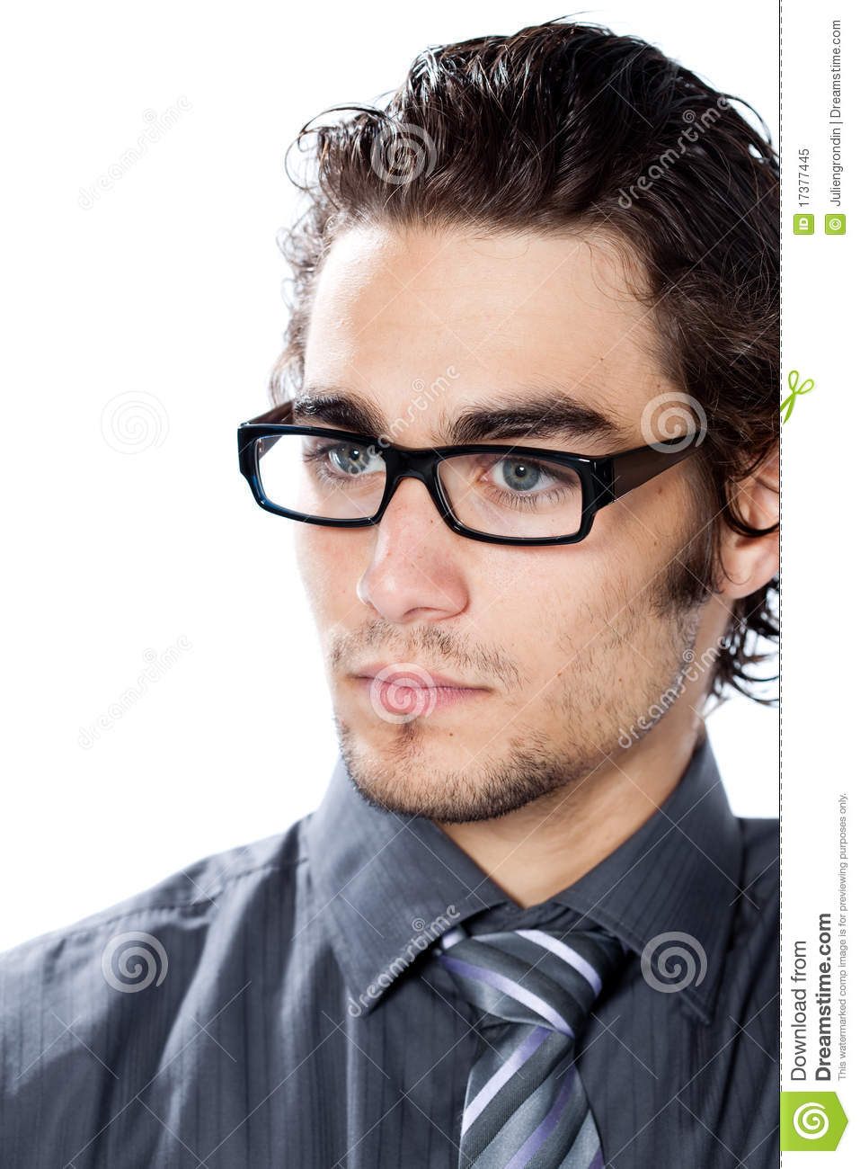 Handsome man with glasses stock image. Image of hairstyle ...