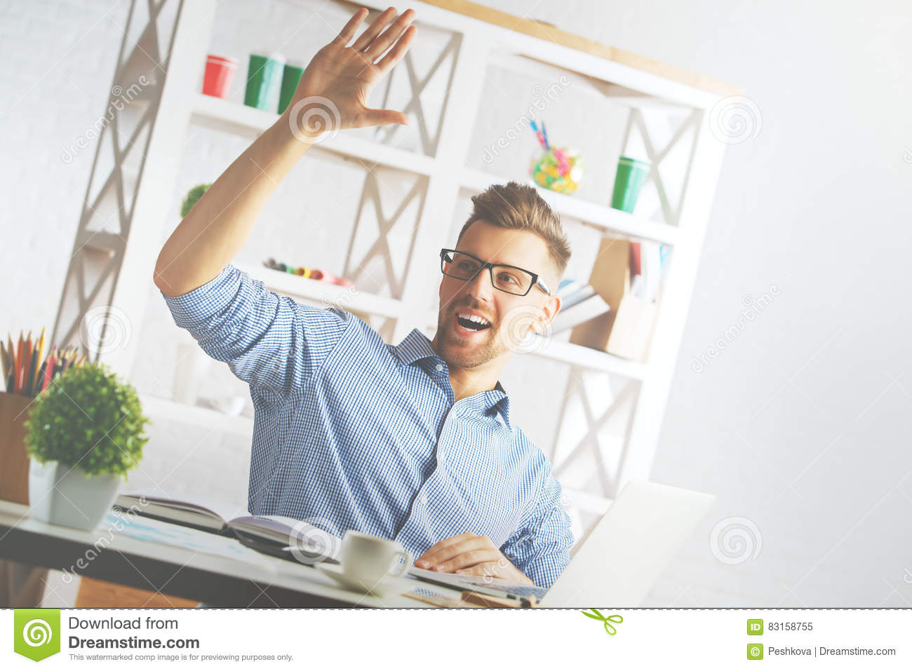 Handsome man greeting someone stock image image of formal gesture handsome man greeting someone m4hsunfo