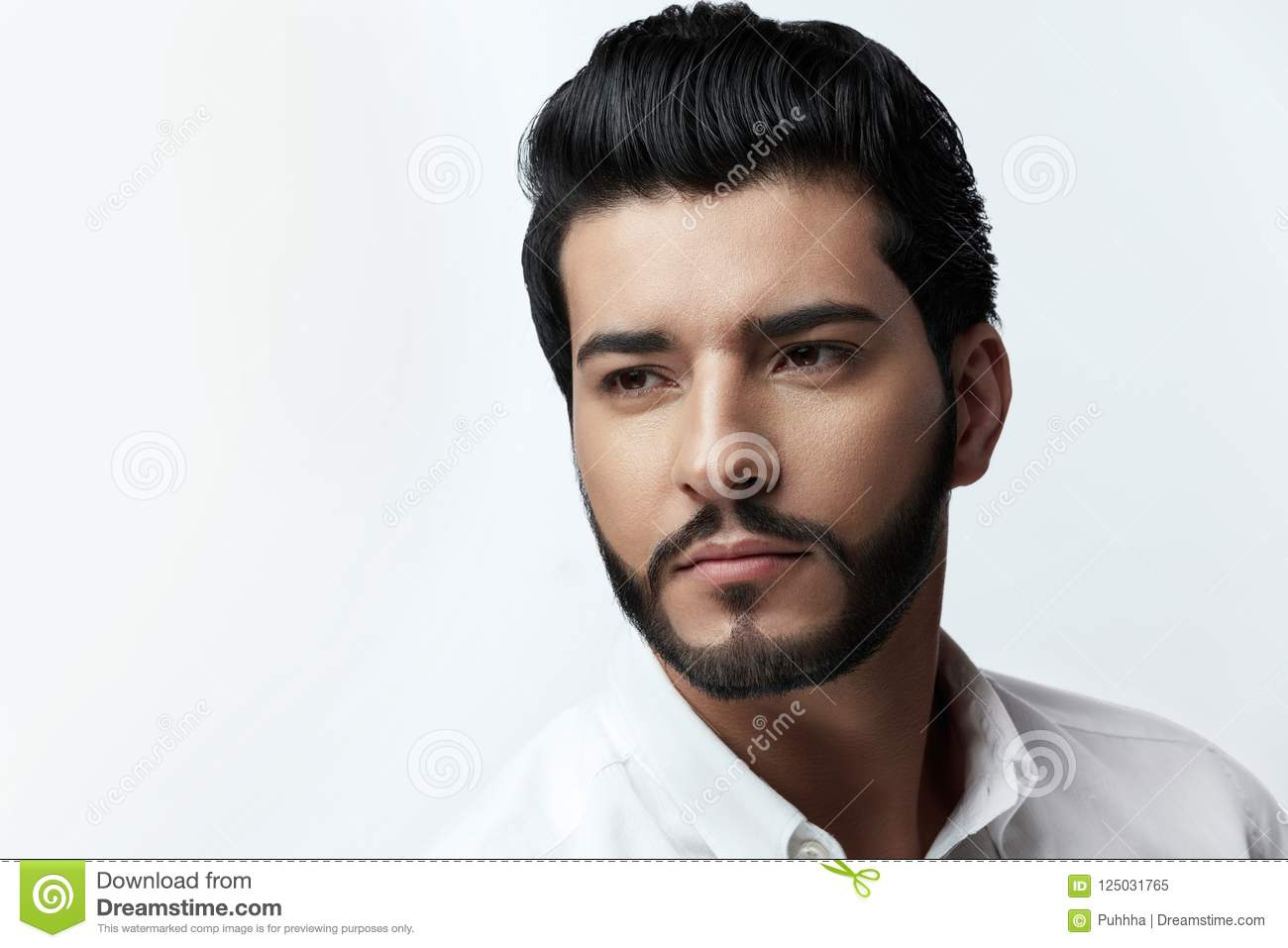 Outstanding Handsome Man With Hair Style Beard And Beauty Face Portrait Stock Natural Hairstyles Runnerswayorg