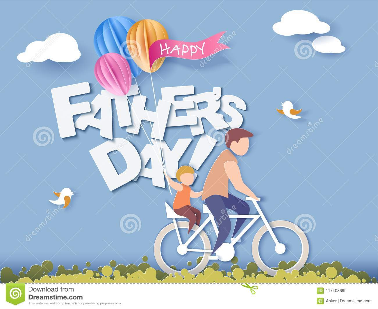 Happy Fathers Day Card Paper Cut Style Stock Vector Illustration