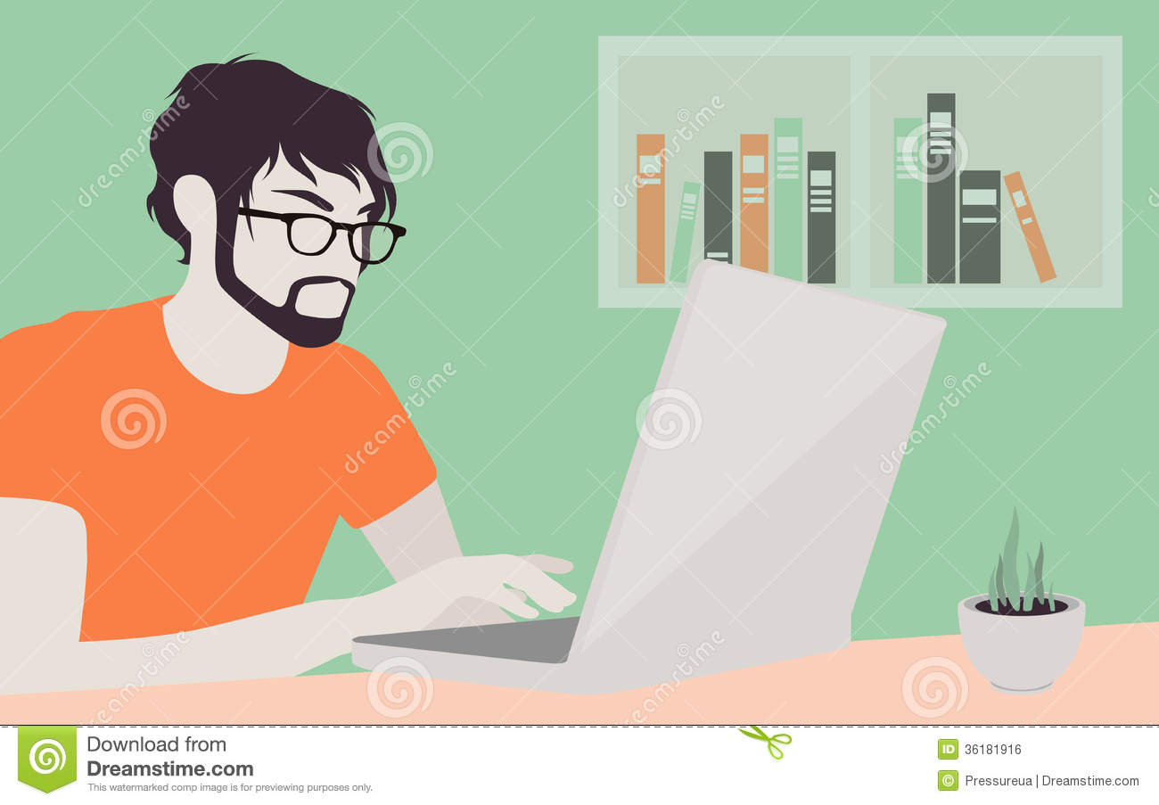 Handsome Man With Laptop Illustration Royalty Free Stock