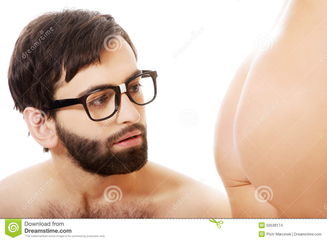 Handsome man looking on naked woman s ass.