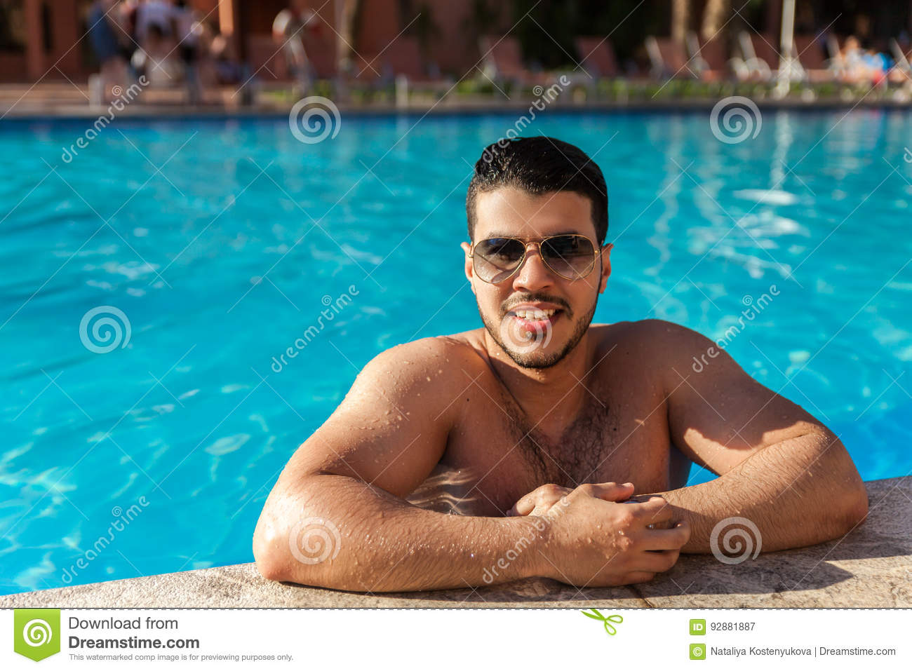 Handsome Man In Pool Royalty Free Stock Photo 92881887