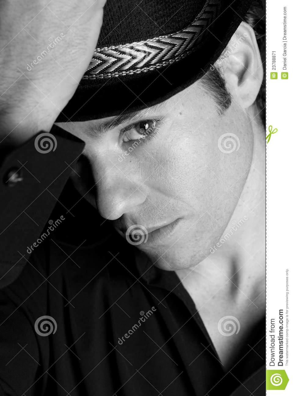 handsome man portrait hat black and white stock image
