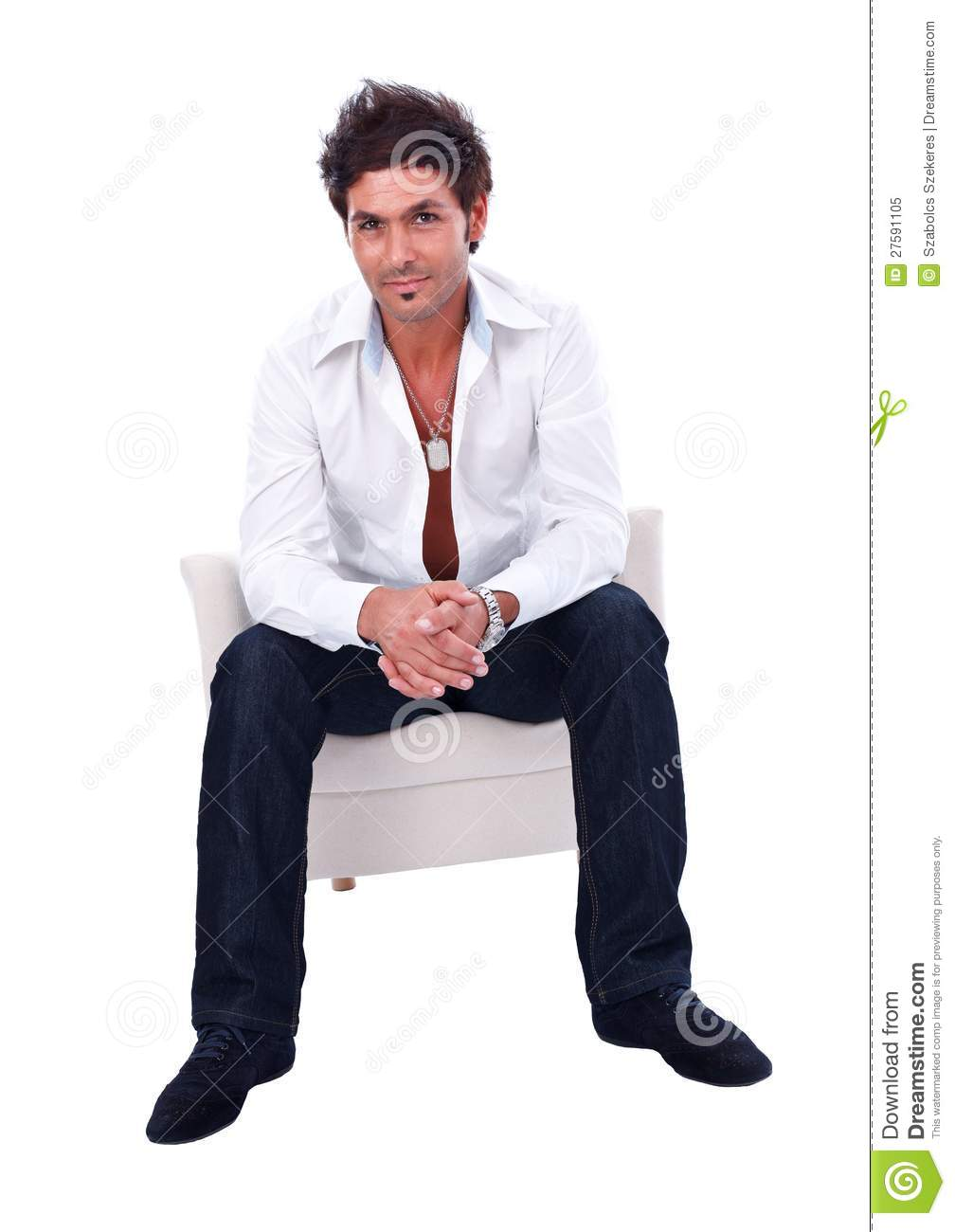 Handsome man sitting in armchair royalty free stock photo for Sitting in armchair