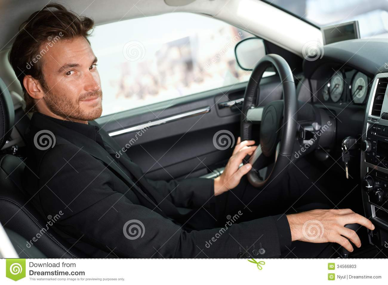 Handsome Man Sitting In Car Stock Image Image Of Driving Image - In car