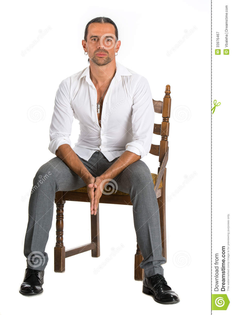 Handsome Man Sitting Chair White Background Attractive Stylish Young Guy Model