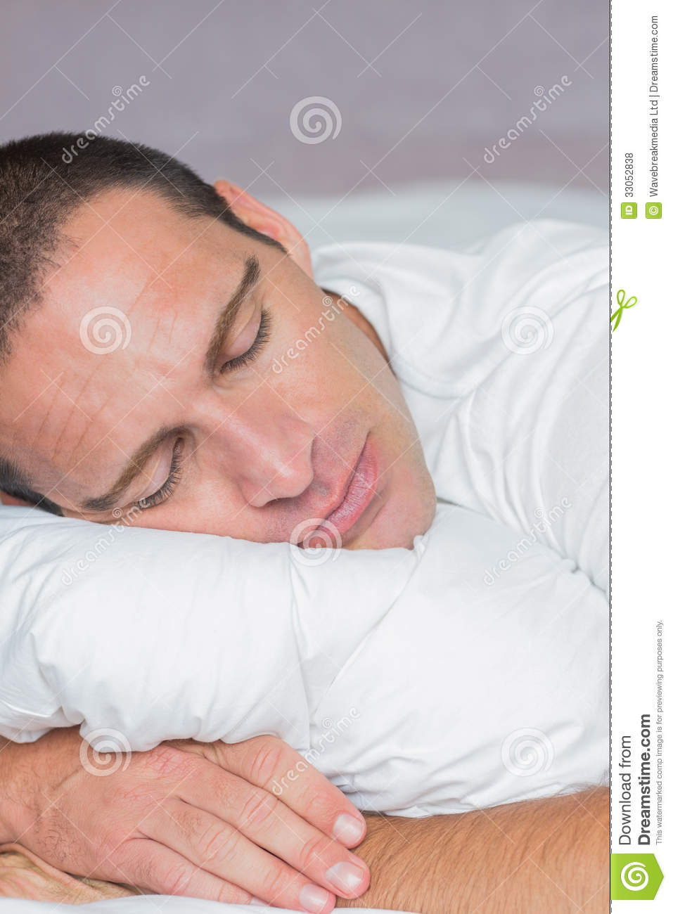 Handsome man sleeping on his pillow stock photo image of asleep domicile 33052838 - Man bedroom photo ...