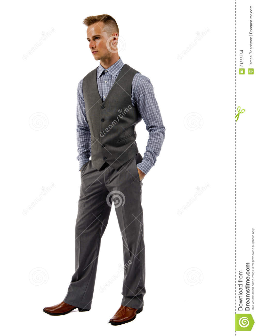 ... Man In A Suit With Hands In Pocket Stock Images - Image: 31566164