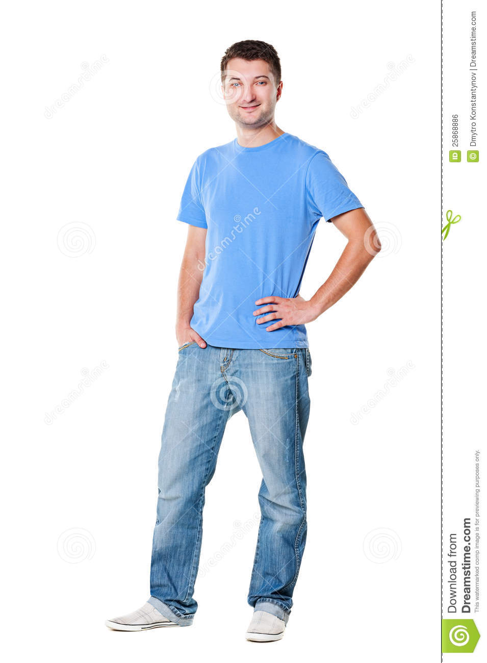 Handsome Man In T-shirt And Jeans Royalty Free Stock Image - Image ...