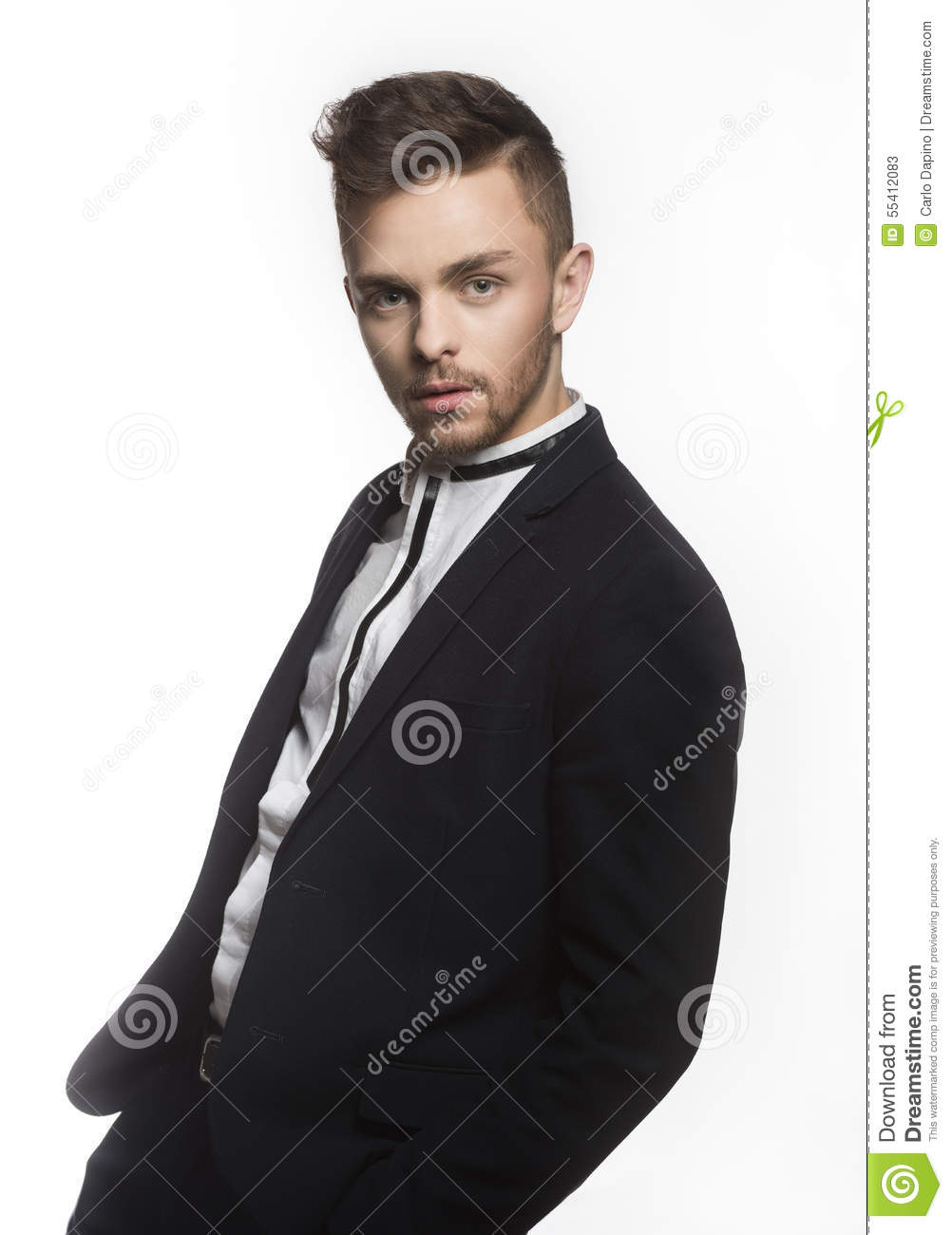 Handsome Man In Trendy Black Suit Stock Photo - Image: 55412083
