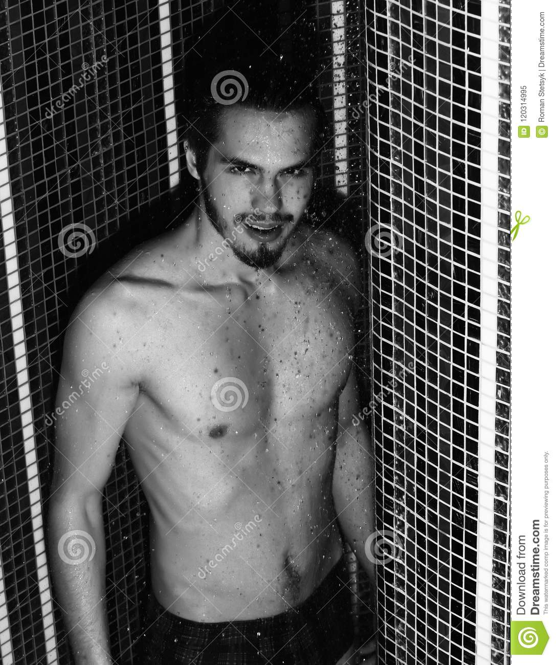 Sexy black male in the shower
