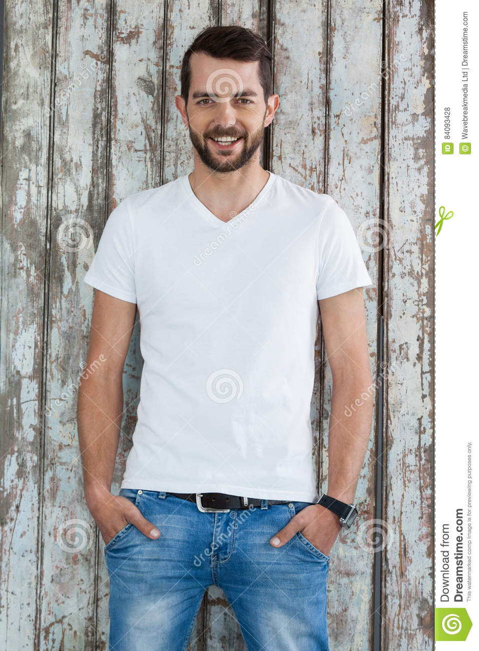 White t shirt and blue jeans - Handsome Man In White T Shirt And Blue Jeans