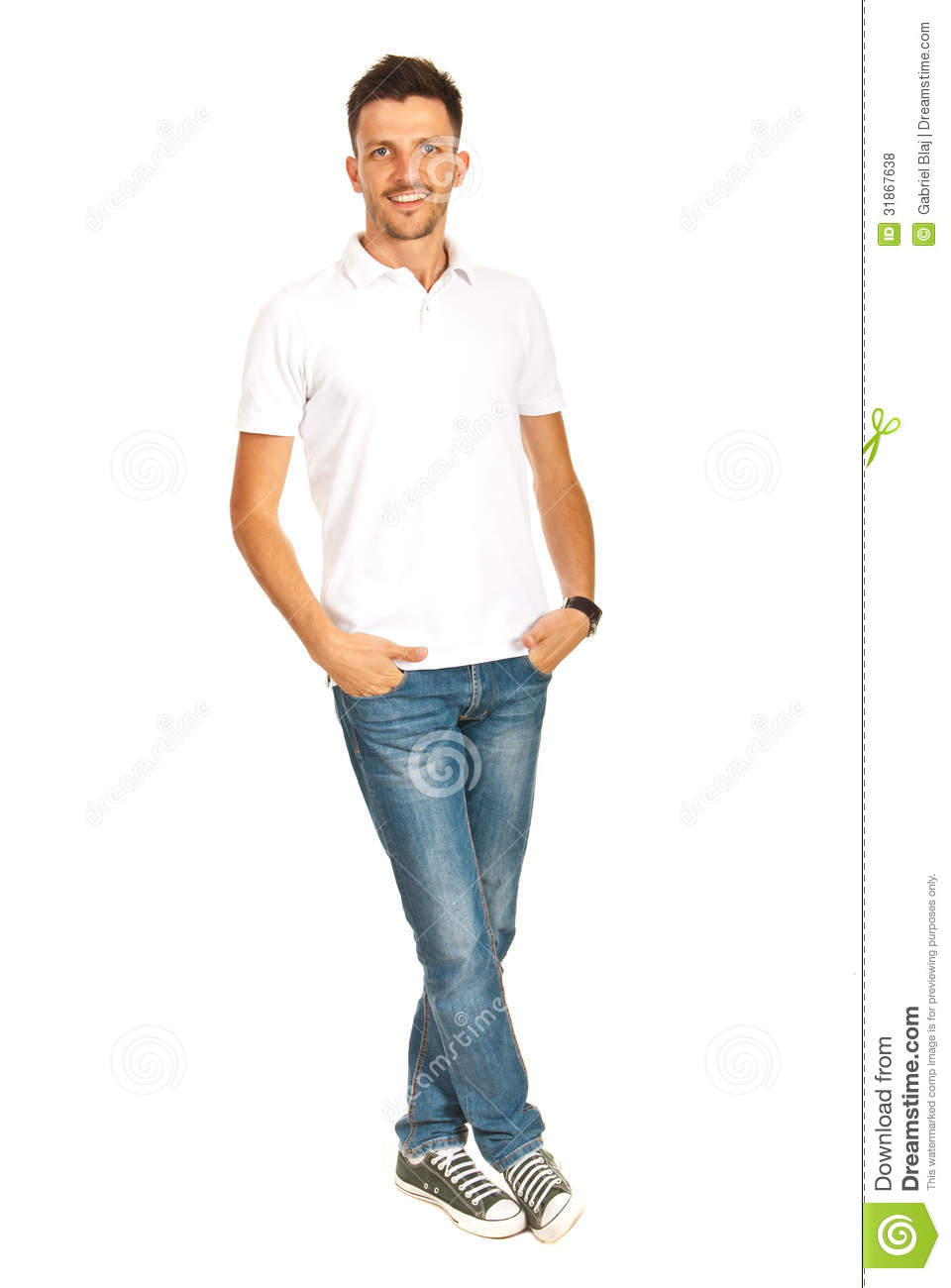 Handsome Man In White T-shirt Stock Photo - Image of model pose 31867638