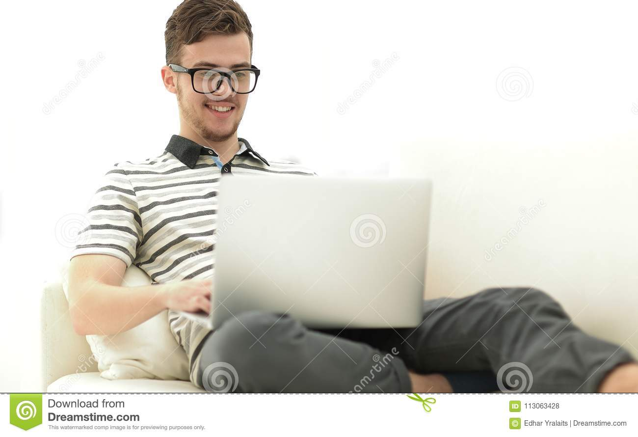 Handsome Man Working At Home Stock Photo - Image of ideas, couch ...