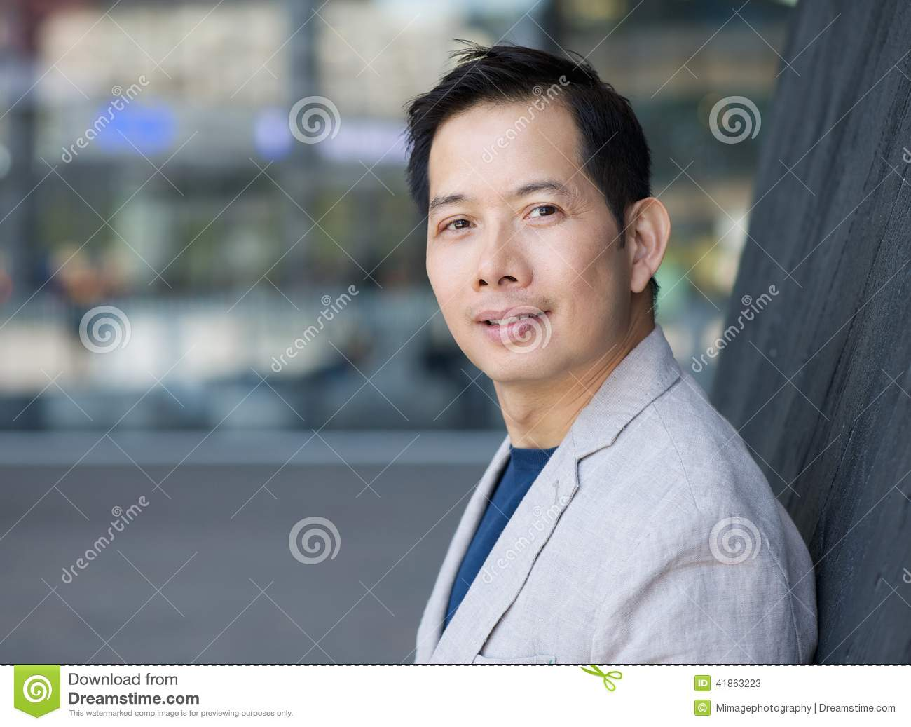 Handsome Middle Aged Asian Man Stock Photo Image 41863223