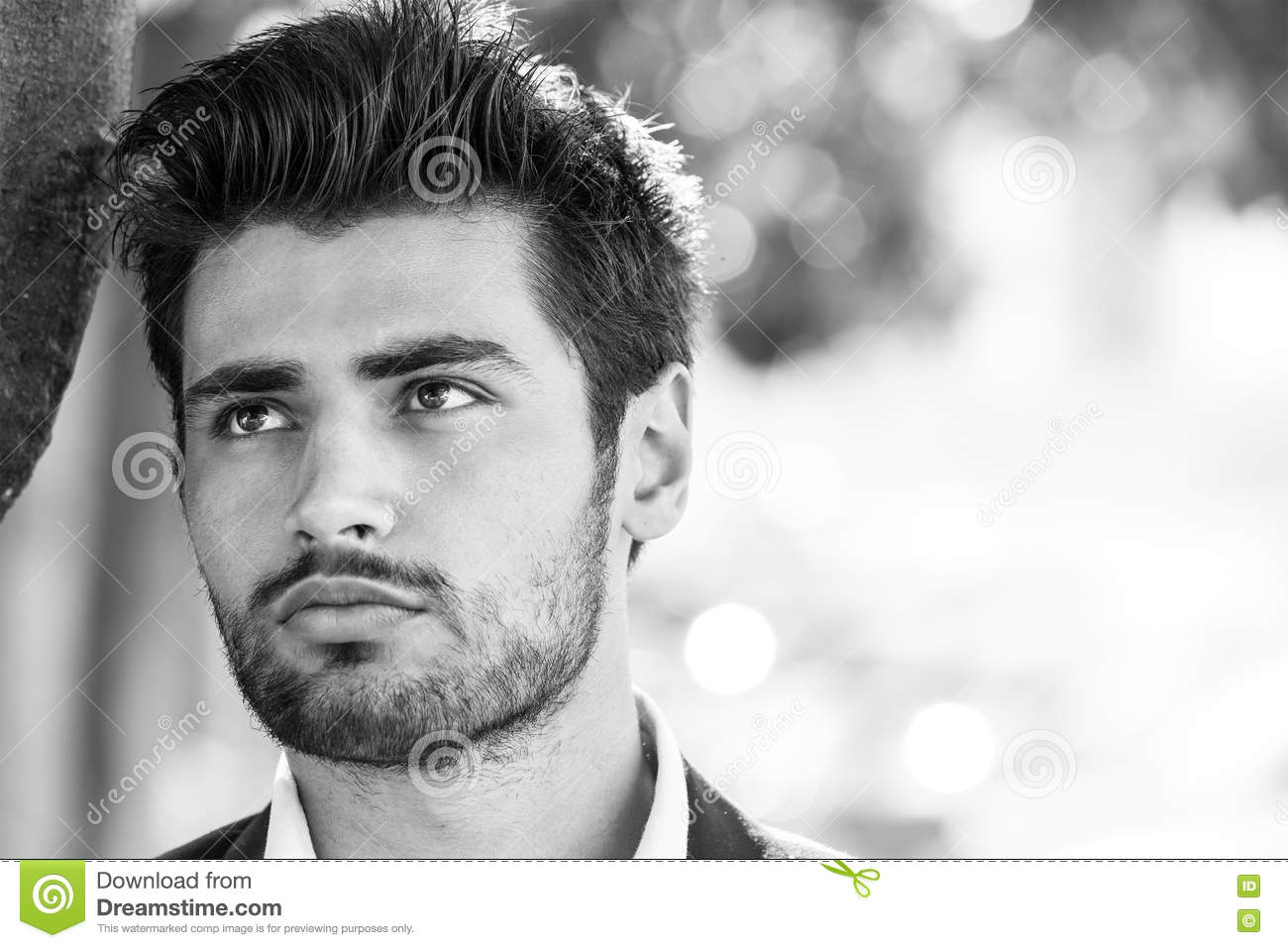 Handsome model man portrait. Hope. Black and white