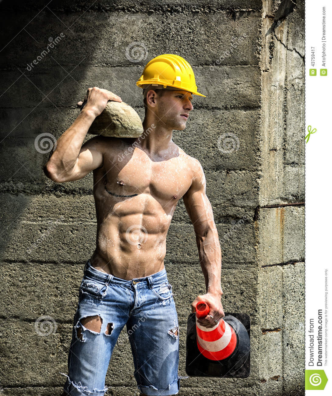 Handsome, Muscular Construction Worker Shirtless Outdoor Stock Photo ...