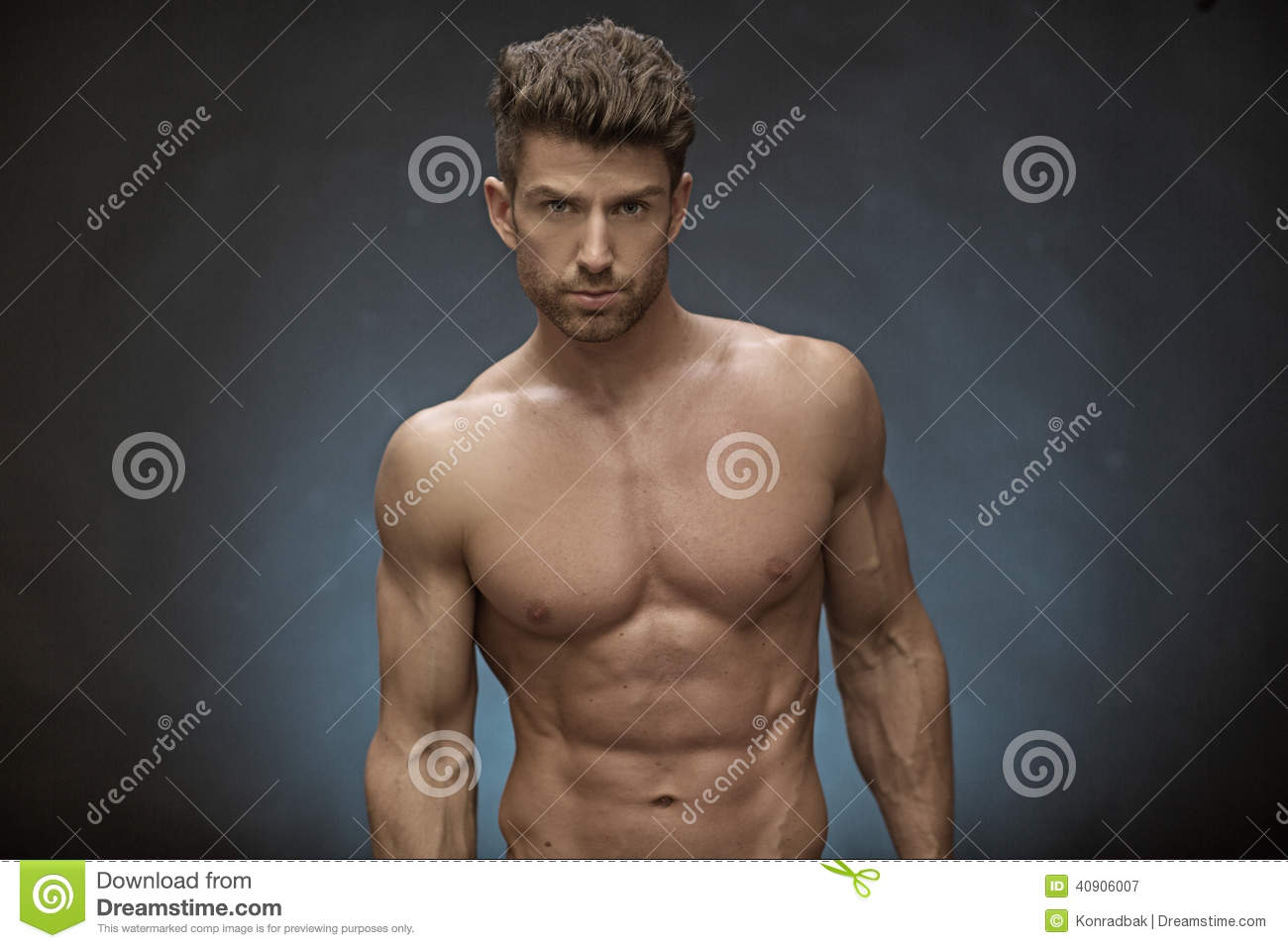 Handsome Muscular Guy With Great Hairstyle Stock Photo
