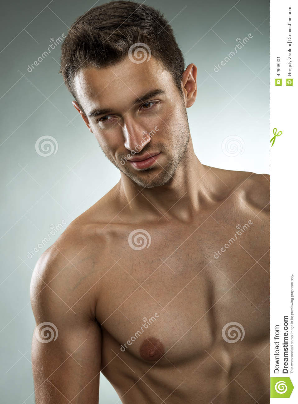 Handsome Muscular Man Posing Half Naked, Close-Up Photo -6411