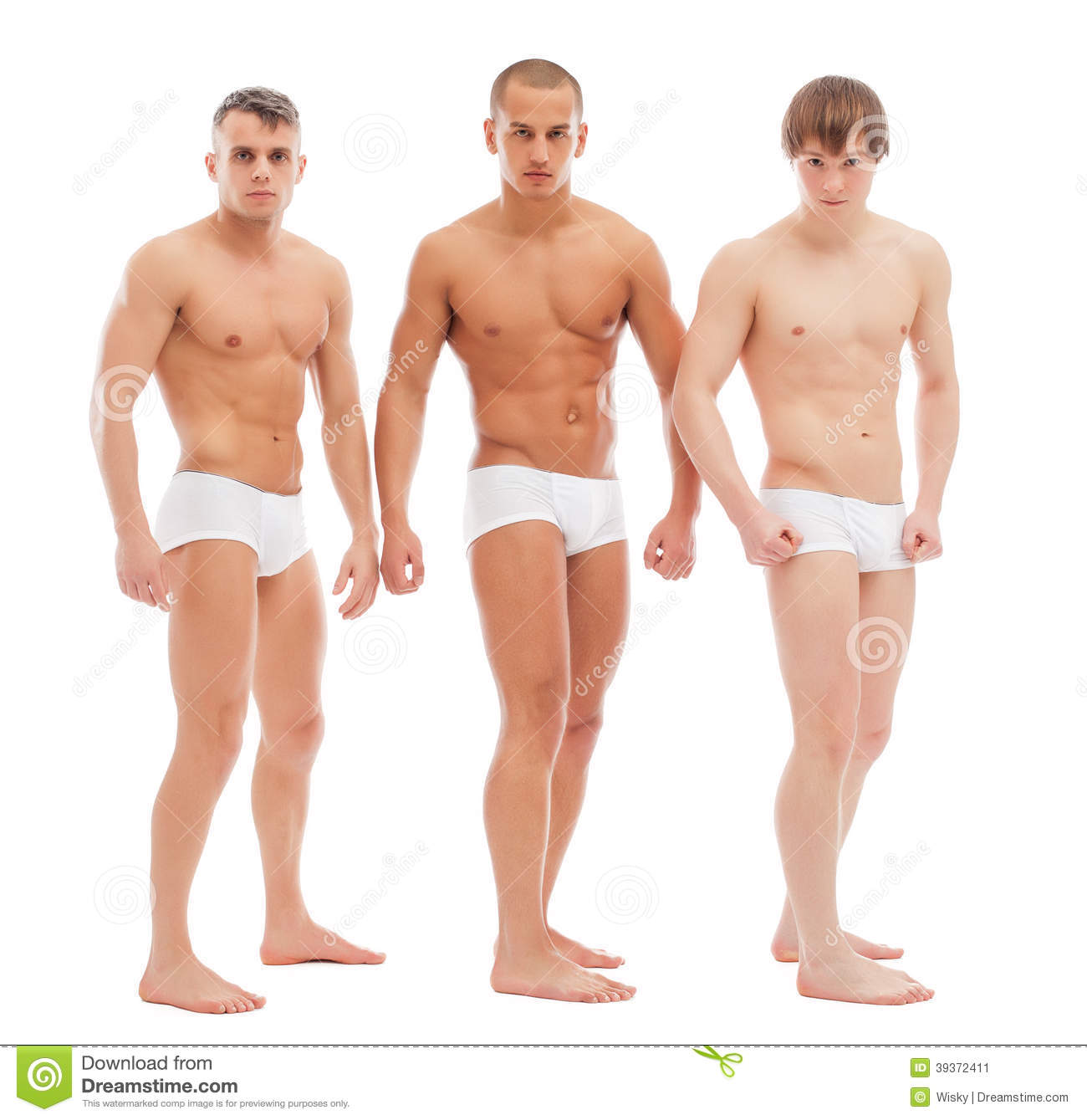 Handsome Naked Guys Posing In White Briefs Stock Photo -8220