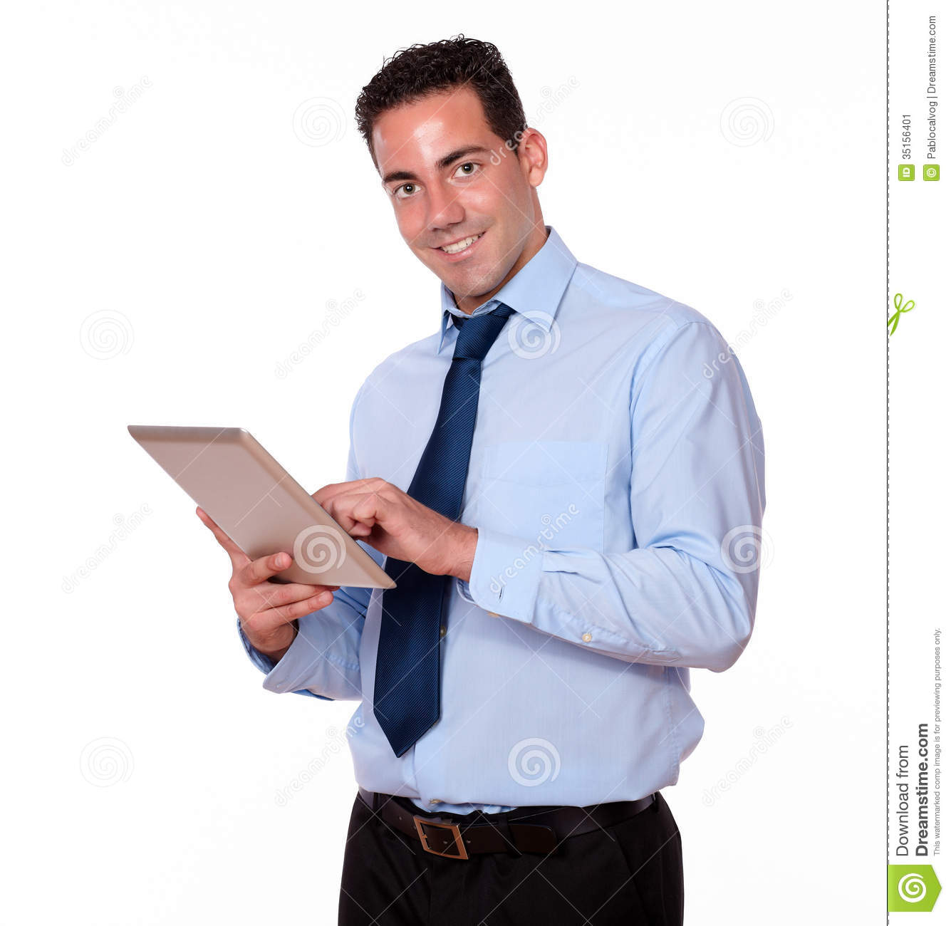 Portrait of a handsome person on blue shirt and tie using his tablet ...