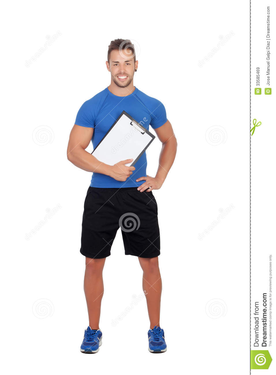 Handsome Personal Trainer With A Clipboard Stock Image ...
