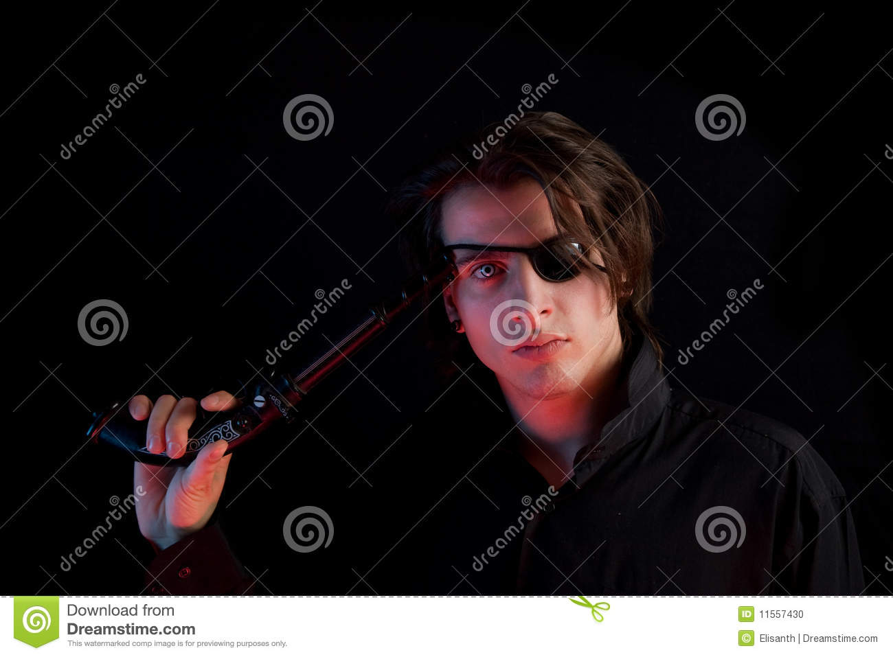 Handsome Pirate With Eye-patch Crossing The Guns Stock