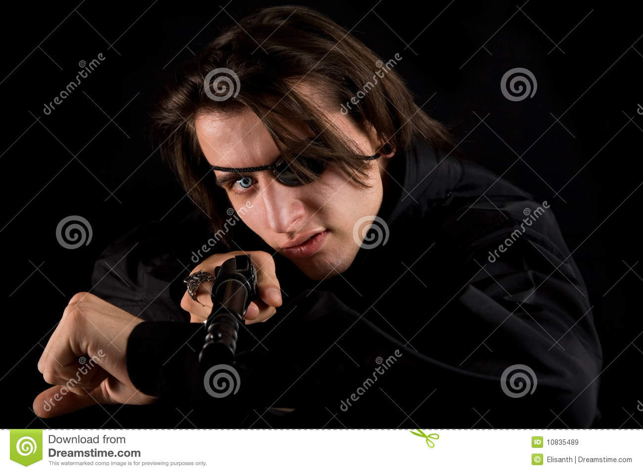 Handsome Pirate With Eye-patch And Gun Stock Photo - Image