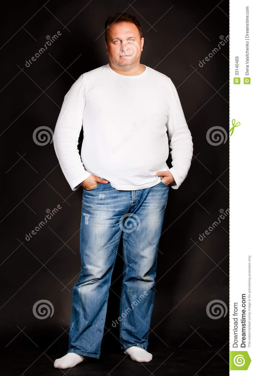 Handsome Plus Size Man Wearing Jeans Royalty Free Stock Images - Image ...