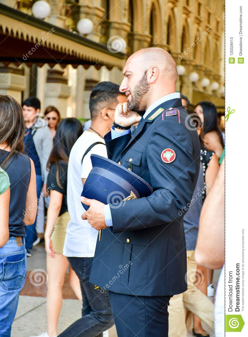 Details Of Italy Handsome Italian Policeman Editorial Stock Photo