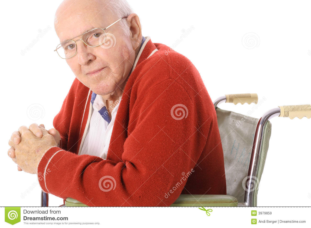 Handsome Senior Citizen In Wheelchair Royalty Free Stock