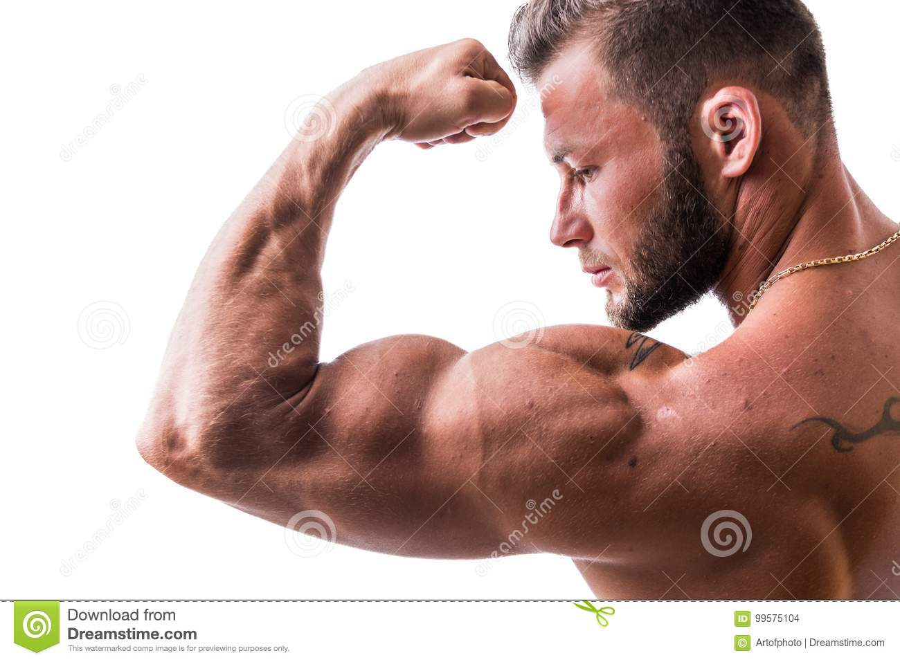 posing Hunks muscle flexing and