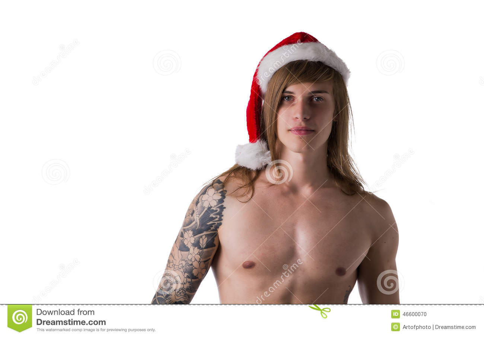 handsome shirtless young man wearing red santa claus hat Bernie Sanders Vector Cartoon Vector