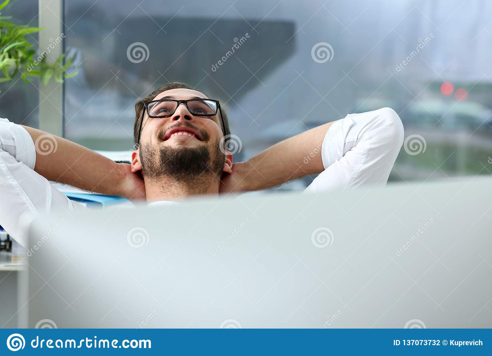 Handsome Smiling Bearded Adult Clerk Person Arms Crossed