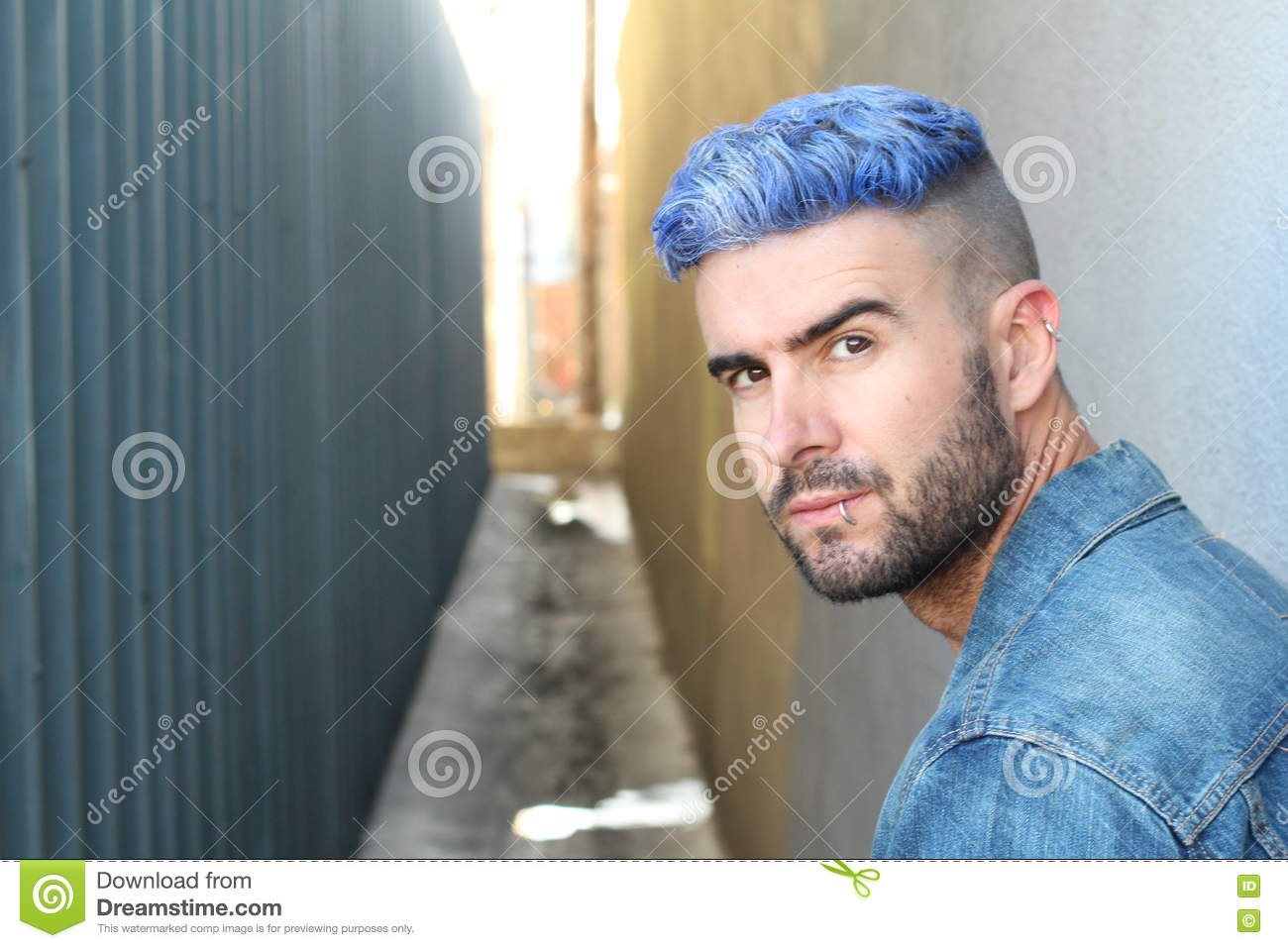 Handsome Stylish Young Man With Artificially Coloured Blue Dyed Hair