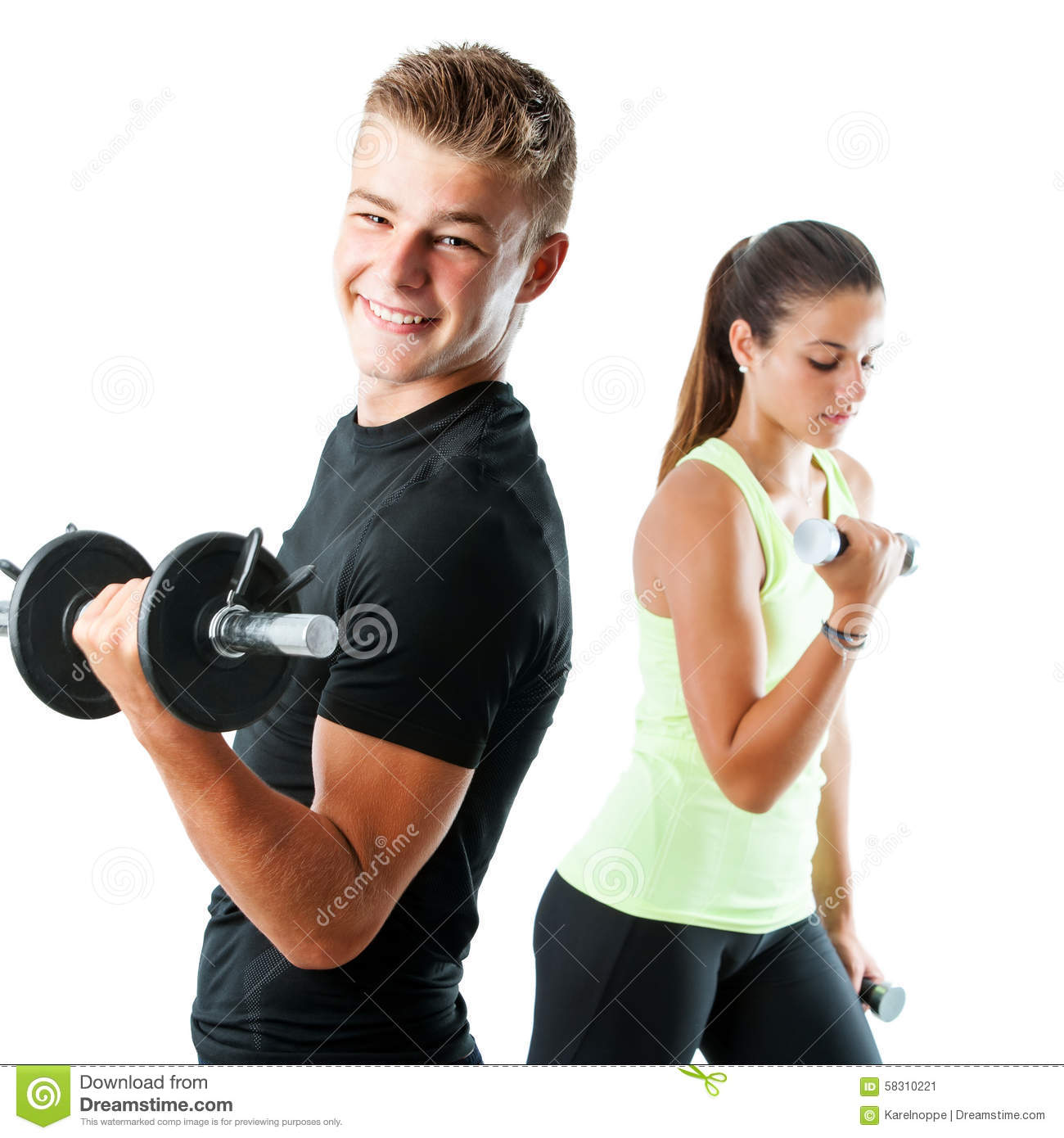 Amino Z Team Womens Weight Lifting Bodybuilding Gym: Handsome Teen Couple Working Out With Weights. Stock Photo
