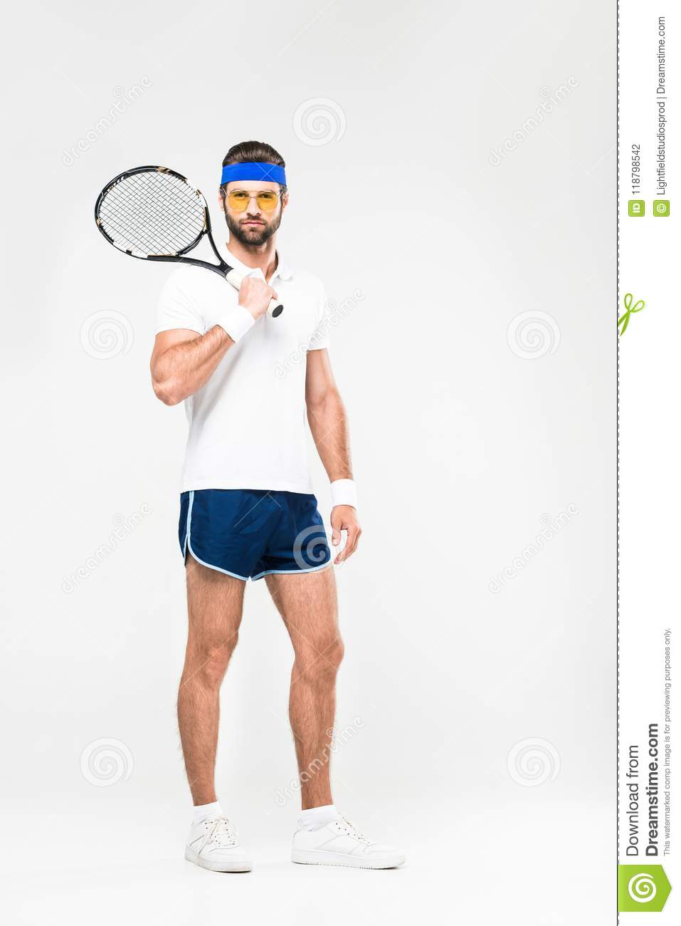 05a78162a81 Handsome Tennis Player In Retro Sunglasses With Racket