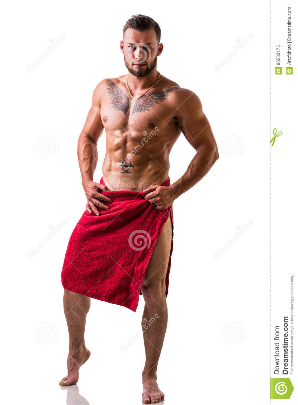 Handsome Topless Muscular Man With Towel Stock Image - Image of side ... d72e747ac