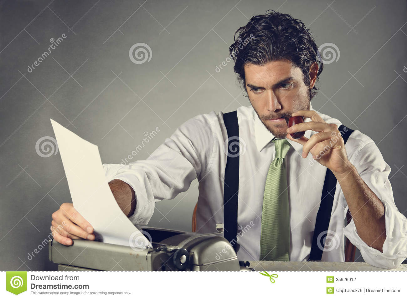 Handsome Writer With Pipe Stock Photo Image Of Write
