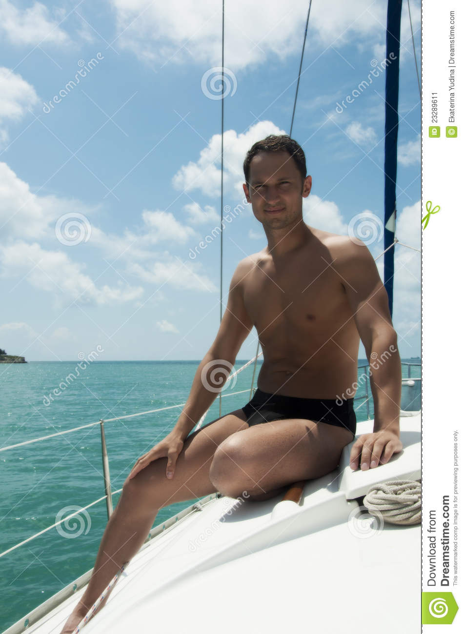 Handsome Young Adult Man Sailing On Yacht Stock Image ...